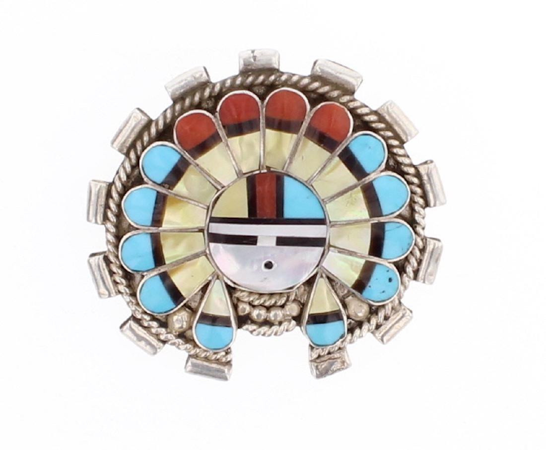 Multi Stone Vintage Zuni Inlay Pin