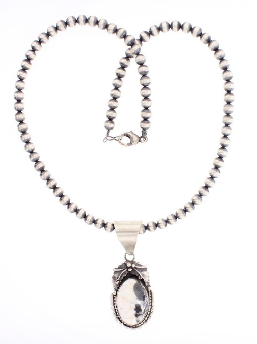 White Buffalo Pendant & Beads Necklace