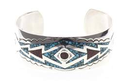 Contemporary Turquoise  Coral Inlay Bracelet