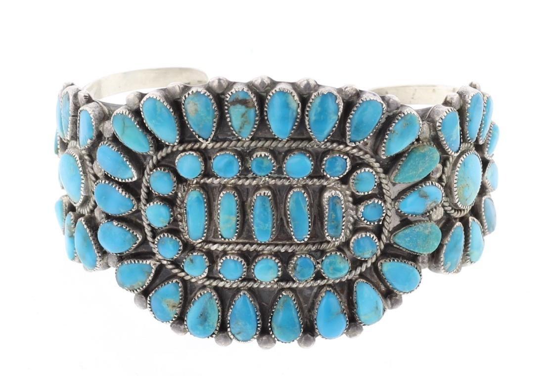 J.M Begay Old Pawn Cluster Cuff Bracelet