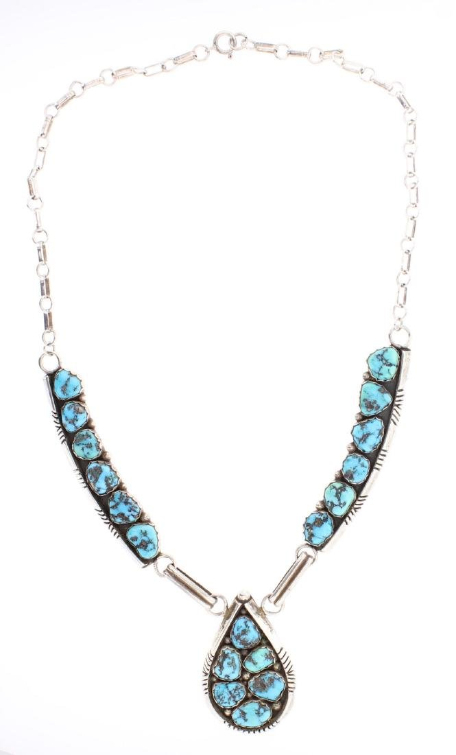 Vintage Turquoise Y Necklace