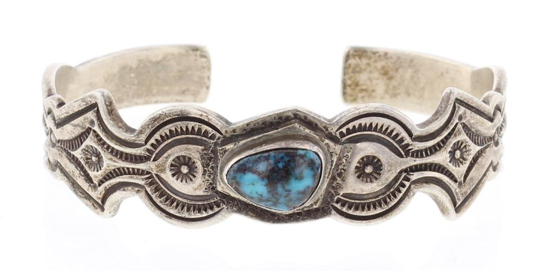 P. Taylor Vintage Bisbee Turquoise Sand Cast Cuff