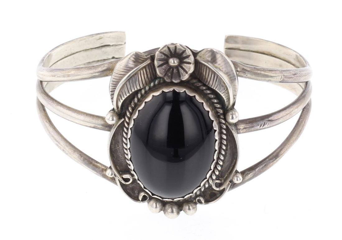 Vintage Black Onyx Cuff Bracelet
