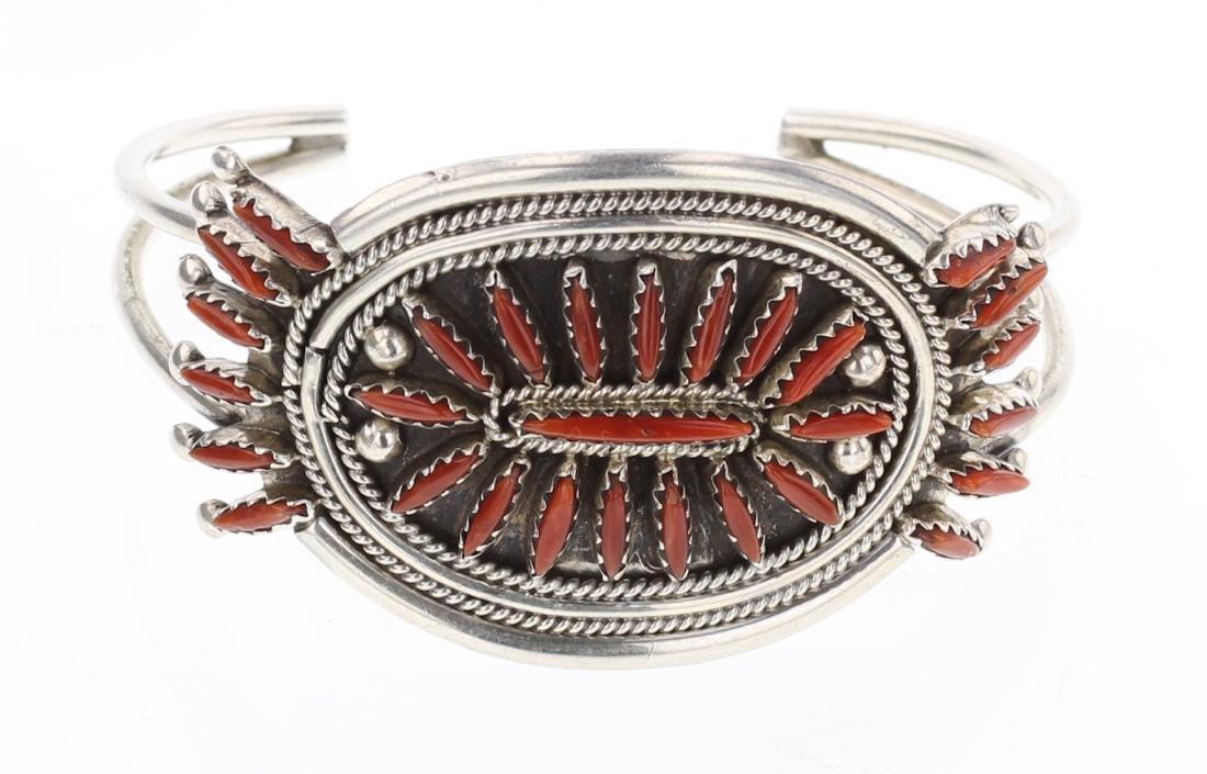 Vintage Coral Needlepoint Cluster Bracelet