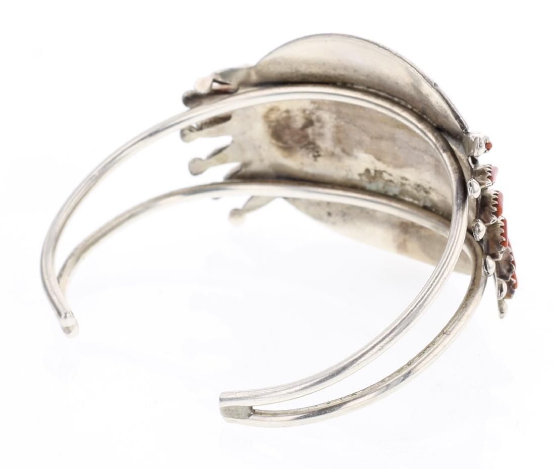 Vintage Coral Needlepoint Cluster Bracelet - 2