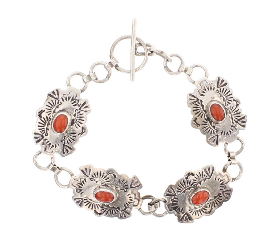 Vintage Coral Link Bracelet