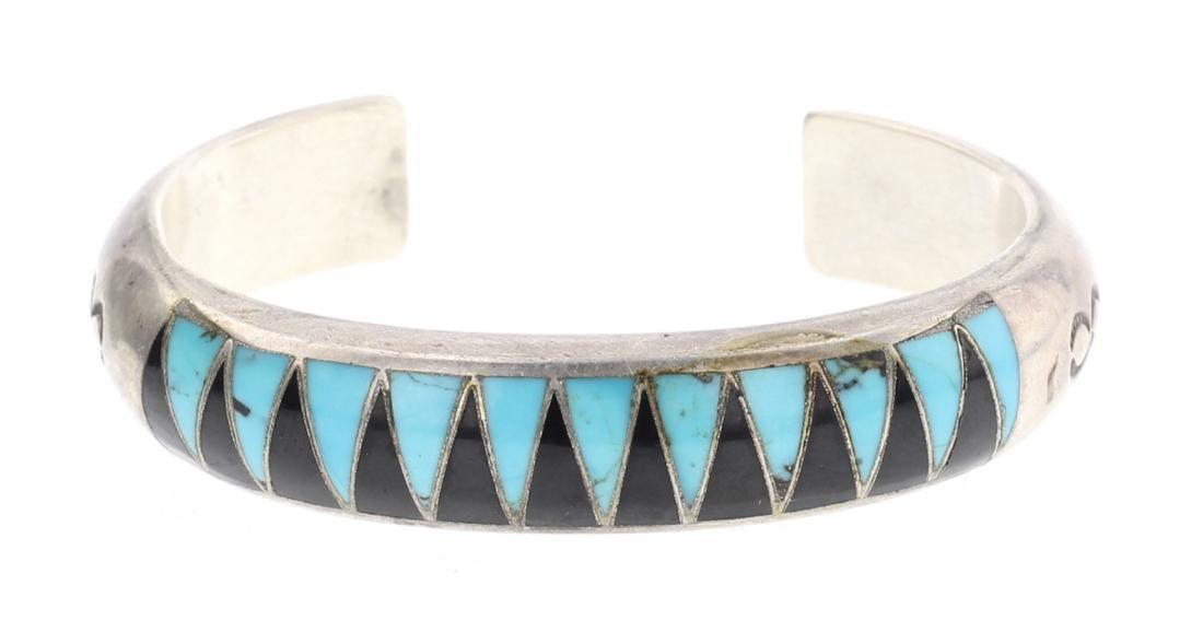 S & IP Vintage Zuni Turquoise Inlay Cuff Bracelet
