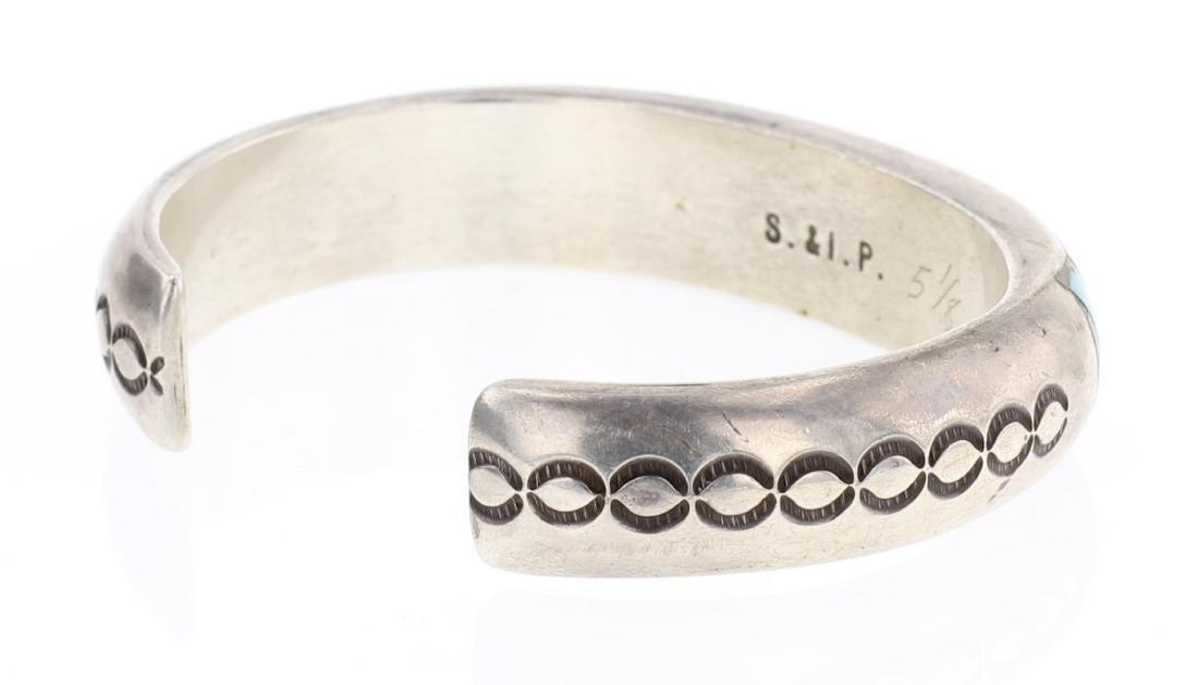 S & IP Vintage Zuni Turquoise Inlay Cuff Bracelet - 2