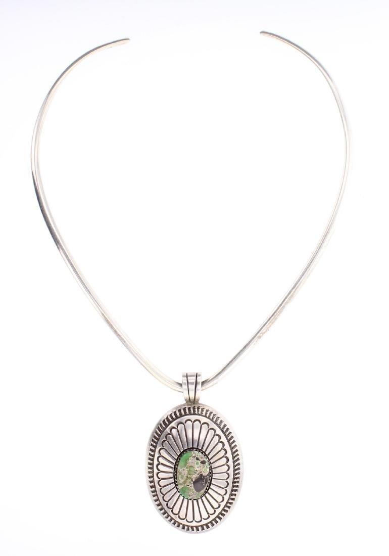 Turquoise Pendant & Torc Choker Necklace