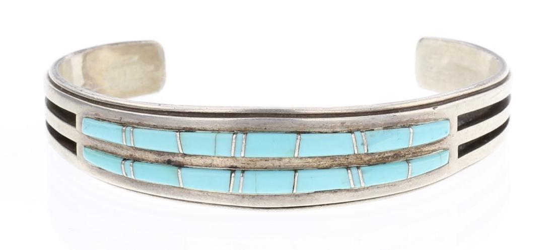 Willie Mariano Turquoise Inlay Row Bracelet