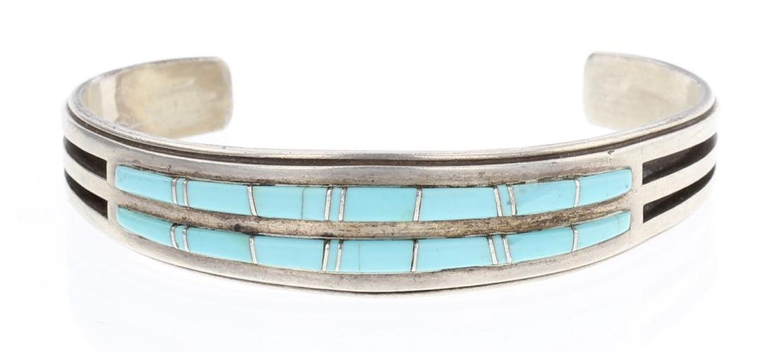 Willie Mariano Turquoise Inlay Row Bracelet