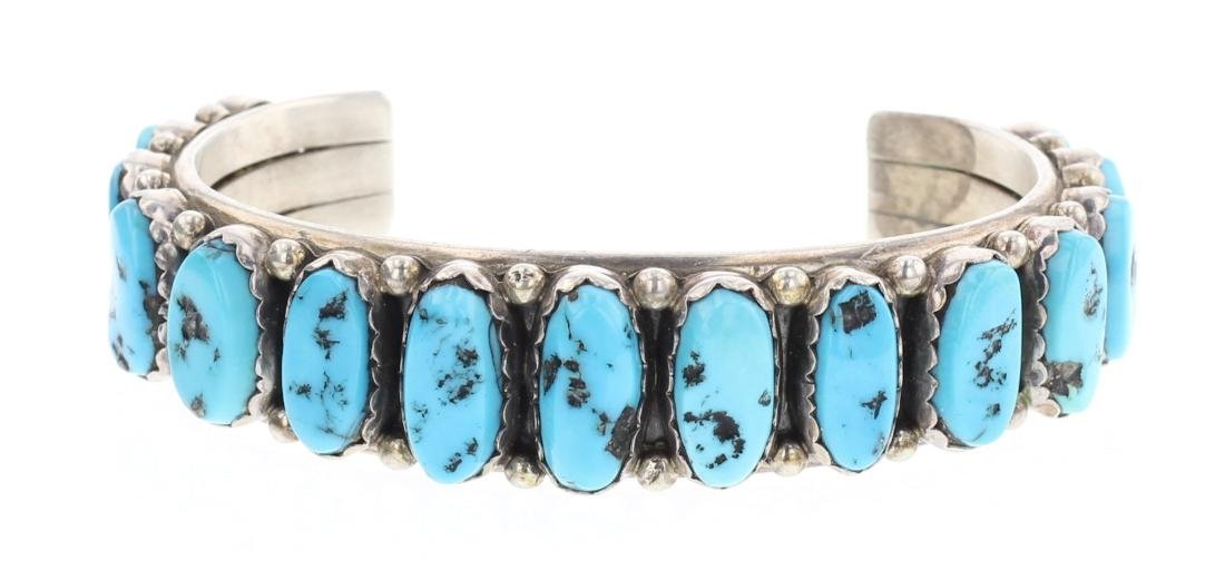 Sleeping Beauty Nugget Turquoise Vintage Row Bracelet