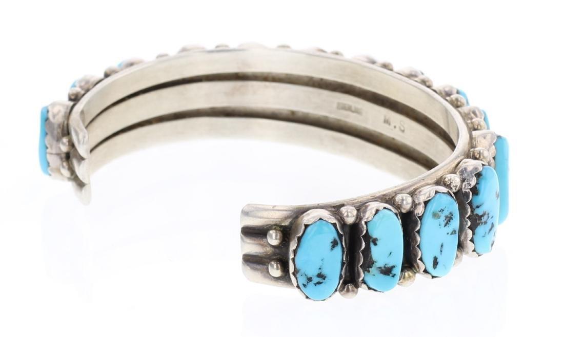 Sleeping Beauty Nugget Turquoise Vintage Row Bracelet - 2