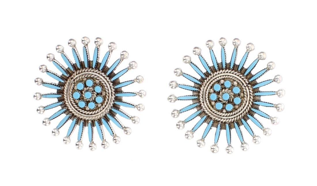 Turquoise Zuni Needlepoint Earrings