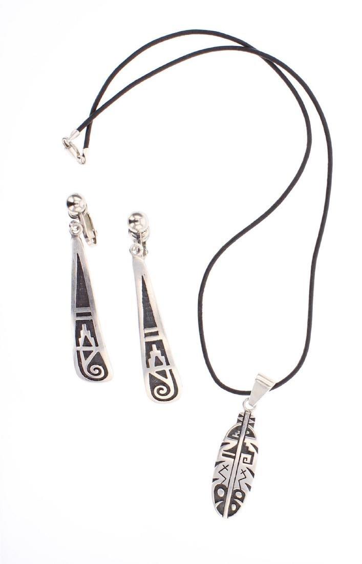 Overlay Hopi Earrings & Pendant Set