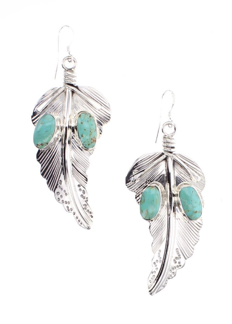 Turquoise Feather Contemporary Earrings