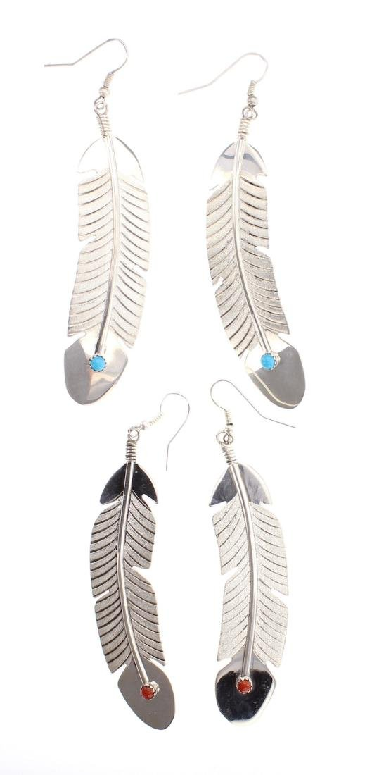 Turquoise & Coral Feather Earrings Lot of 2