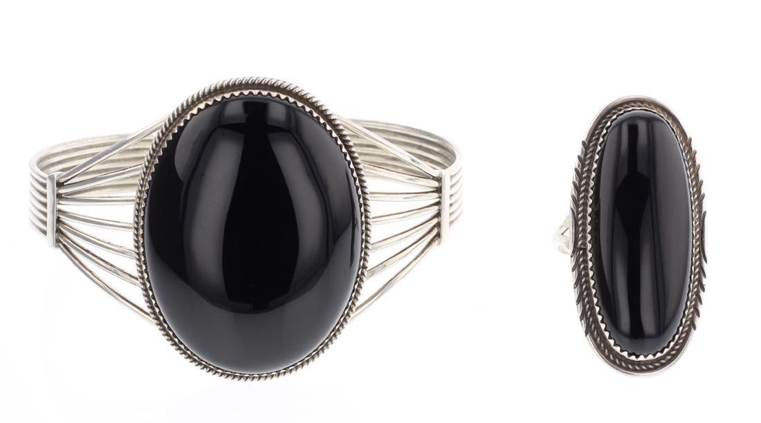 Black Onyx Contemporary Bracelet & Ring
