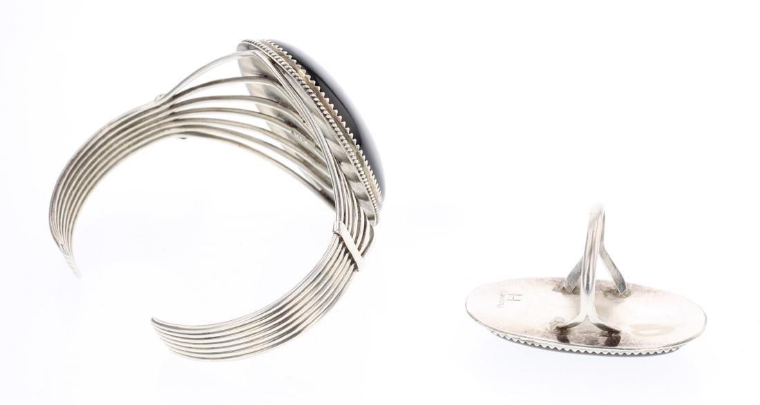 Black Onyx Contemporary Bracelet & Ring - 2