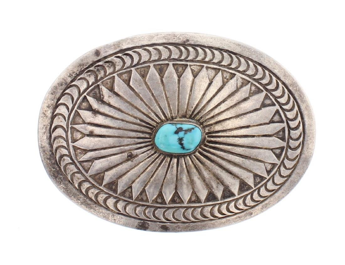Vintage Old Pawn Turquoise Overlay Belt Buckle