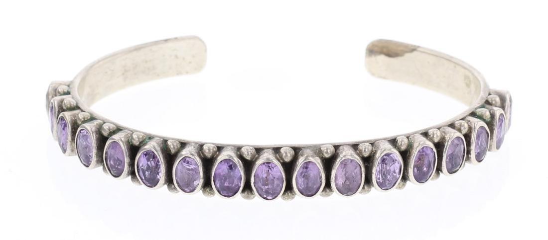 Vintage Amethyst Row Cuff Bracelet