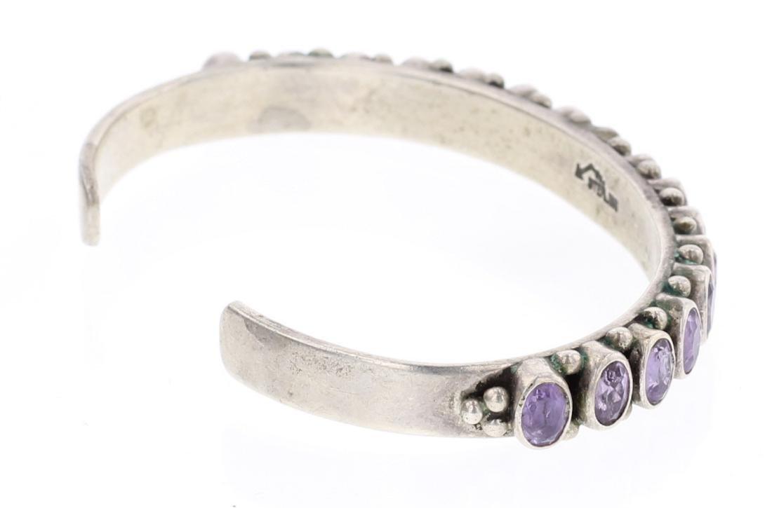 Vintage Amethyst Row Cuff Bracelet - 2