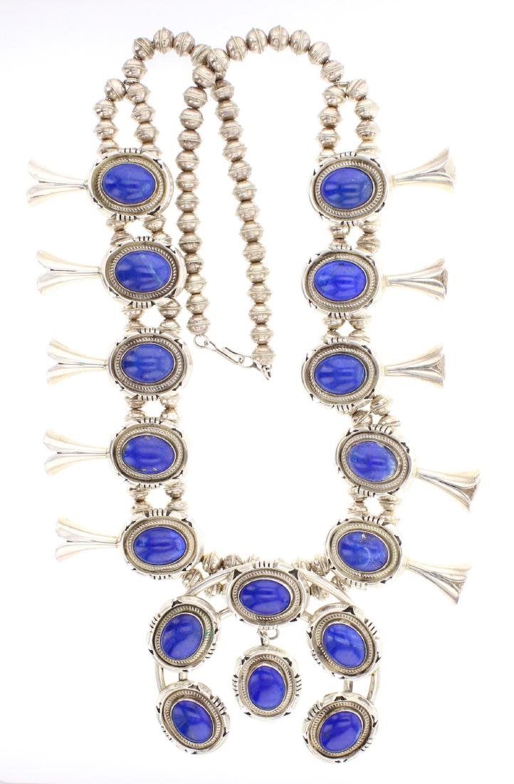 Marvin McCray Vintage Lapis Squash Blossom Necklace