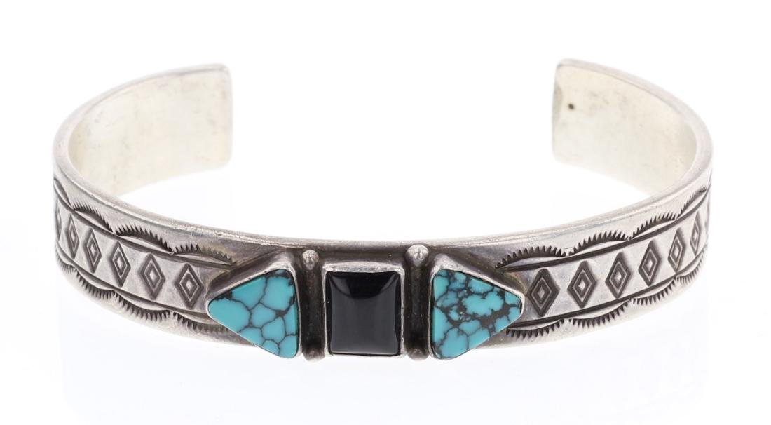 Turquoise Vintage Stamp Cuff Bracelet