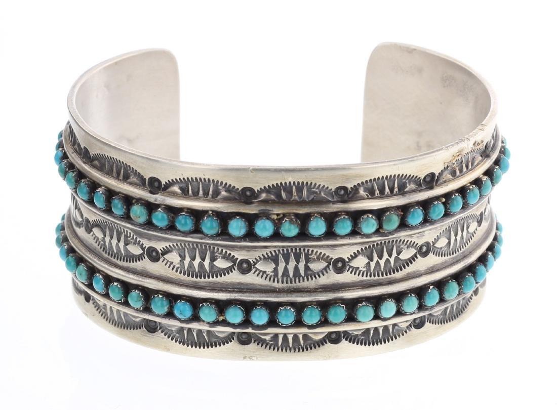 Paul Livingston Turquoise Row Cuff Bracelet
