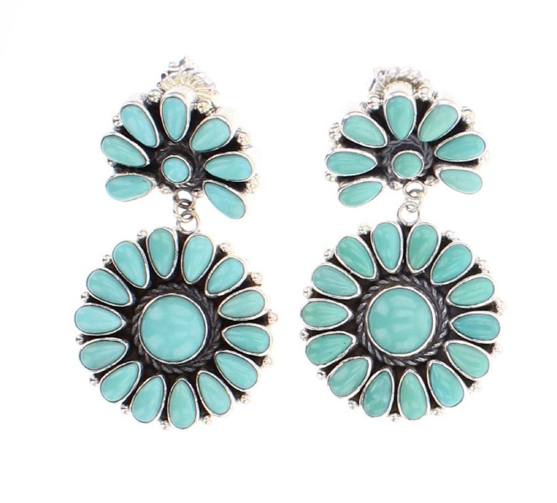 Contemporary Turquoise Cluster Earrings