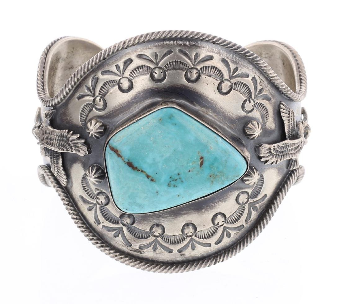 Delgarito Turquoise Stamp Cuff Bracelet