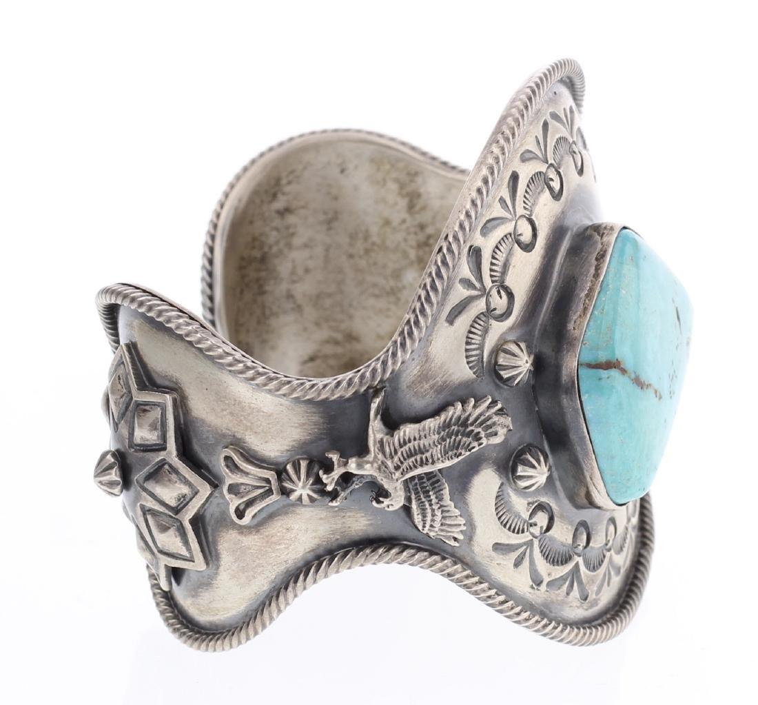 Delgarito Turquoise Stamp Cuff Bracelet - 2