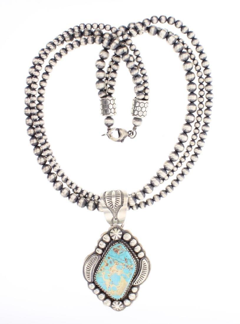 Contemporary Turquoise Pendant & Multi Strand Beads
