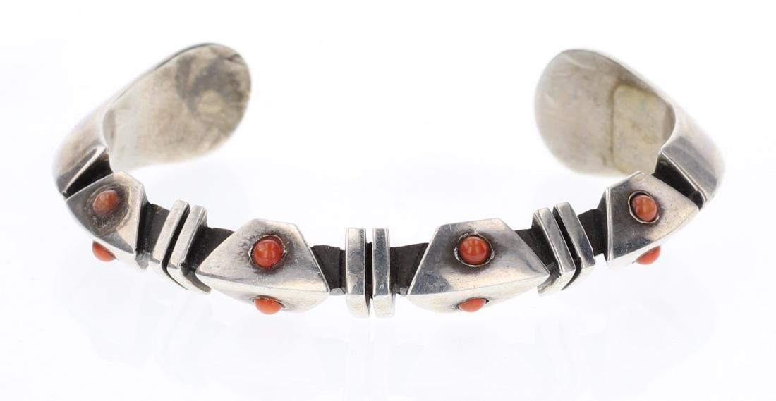 Coral Vintage Overlay Triangle Cuff Bracelet
