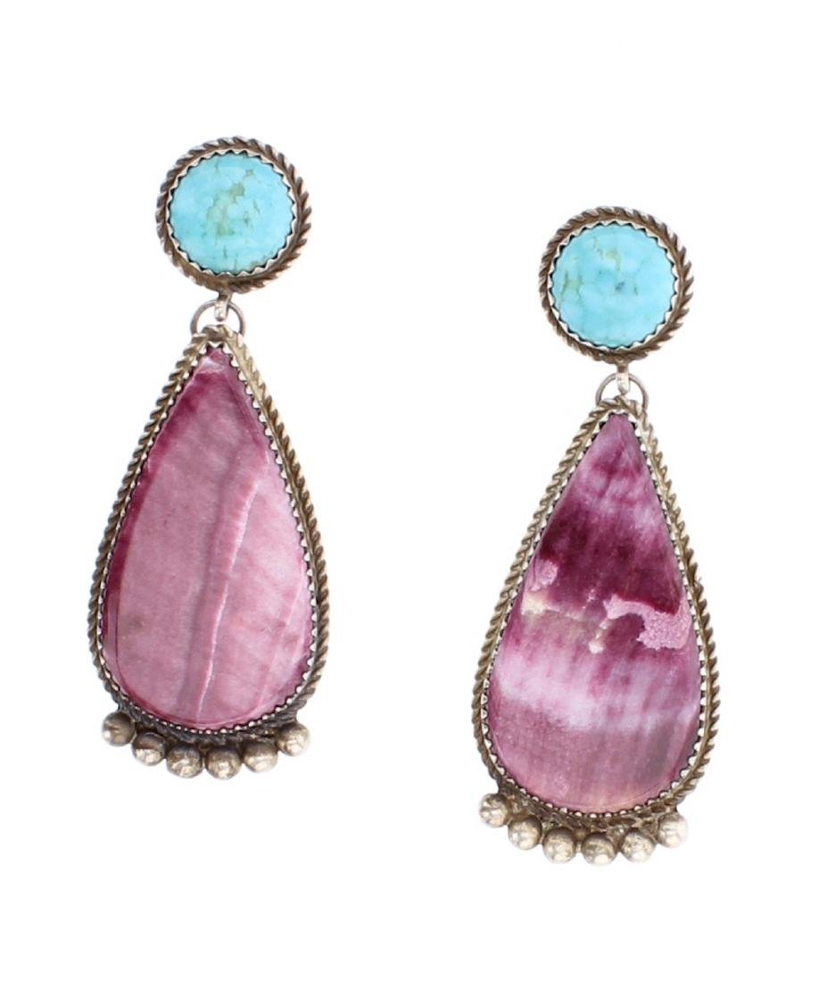 Navajo B Joe Turquoise & Spiny Oyster Earrings