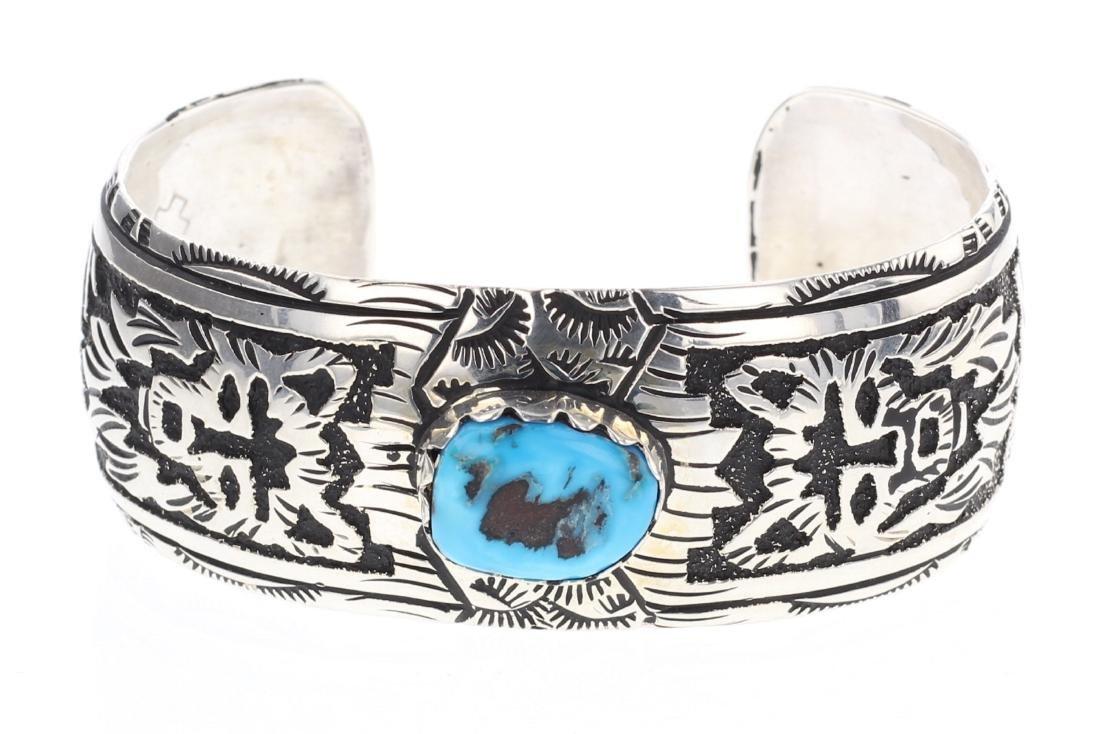 Turquoise Wolf Overlay Cuff Bracelet