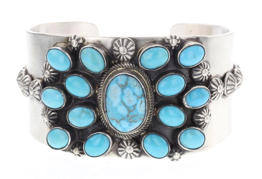 Kathleen Chavez Kingman Turquoise Cuff Bracelet