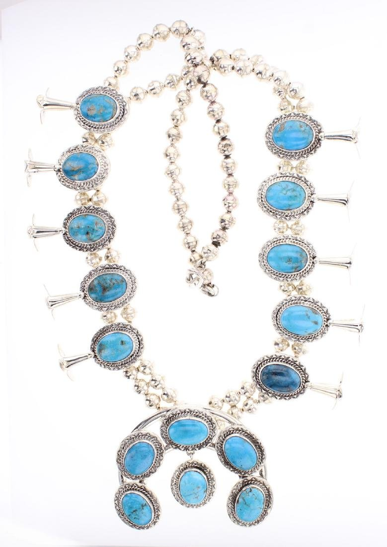Philbert Secatero Turquoise Squash Blossom Necklace
