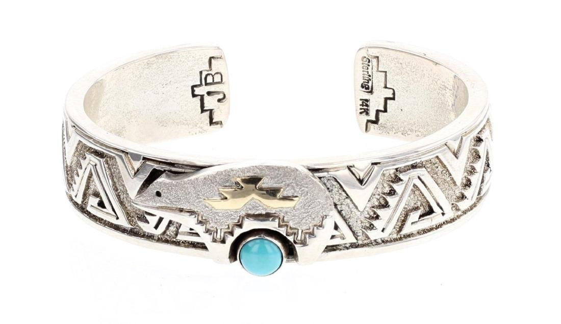 JB 14K Gold Accent Turquoise Cuff Bear Bracelet