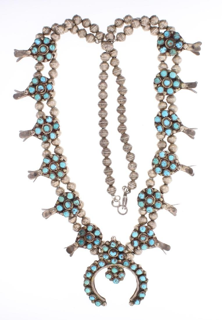 Old Pawn Turquoise Cluster Squash Blossom Necklace