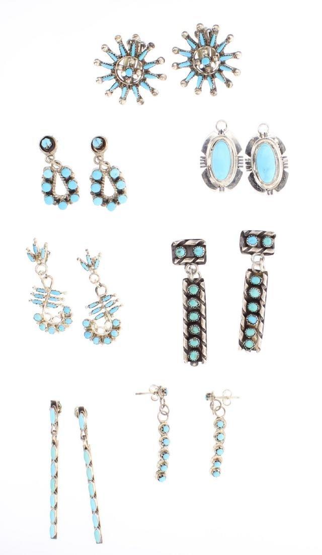 Turquoise Vintage Six Pairs of Earrings