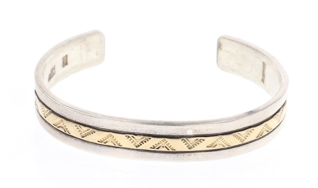 Vintage Heavy Stamp 14K Gold Overlay Cuff Bracelet