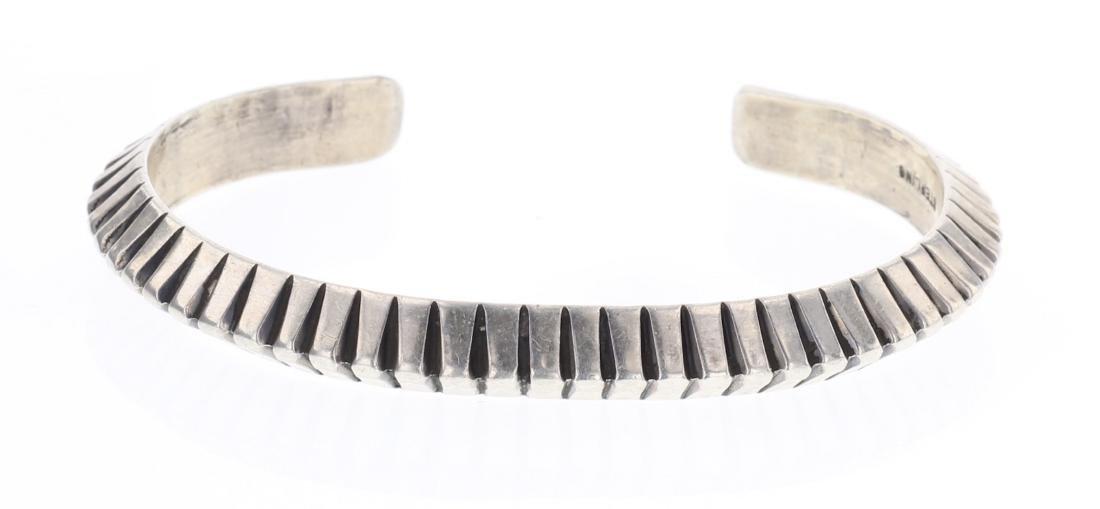 Vintage Deep Etch Triangle Cuff Bracelet