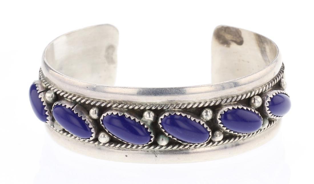 Vintage Lapis Row Cuff Bracelet