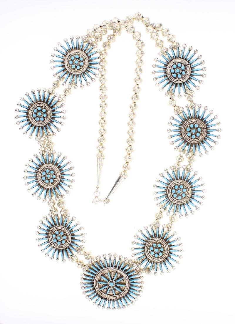 Iva Booqug Zuni Sleeping Beauty Turquoise Needlepoint