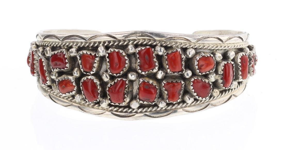 AW Vintage Cluster Freeform Coral Cuff Bracelet