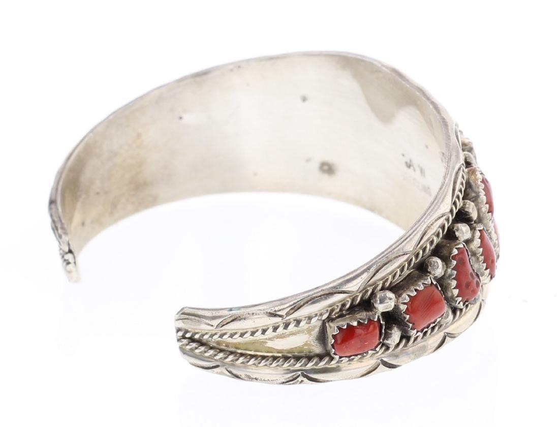 AW Vintage Cluster Freeform Coral Cuff Bracelet - 2