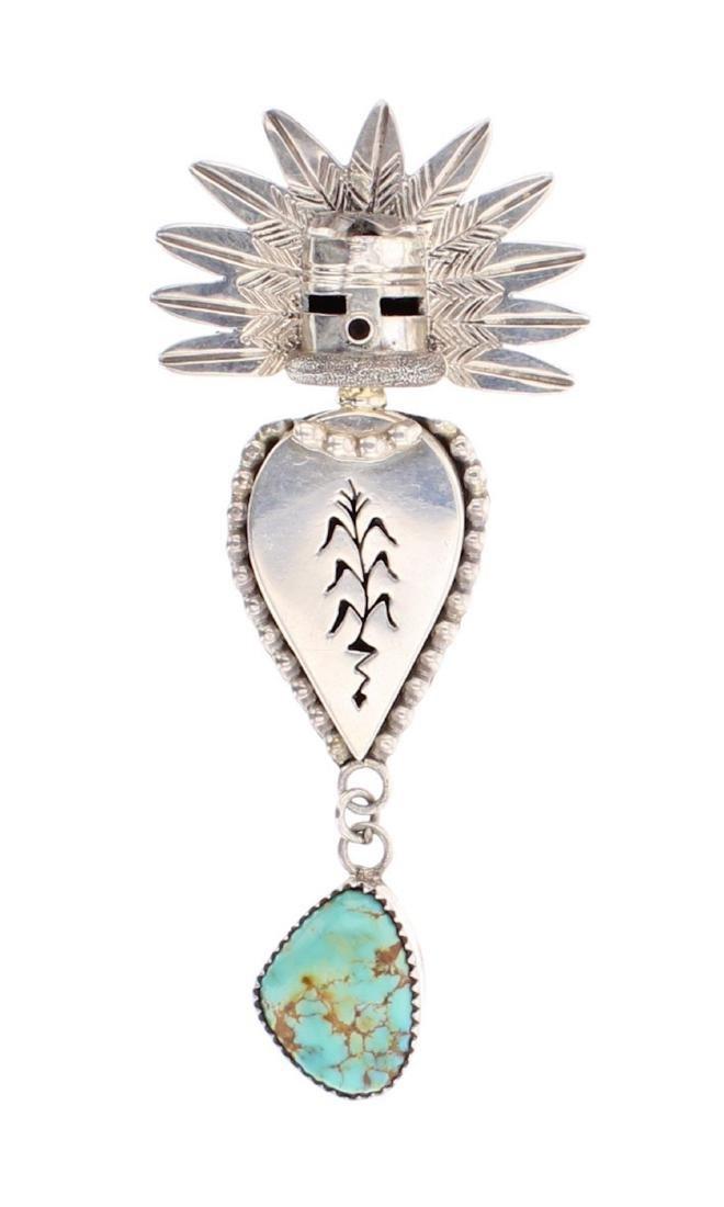 Turquoise Maze Chief Head Pin & Pendant