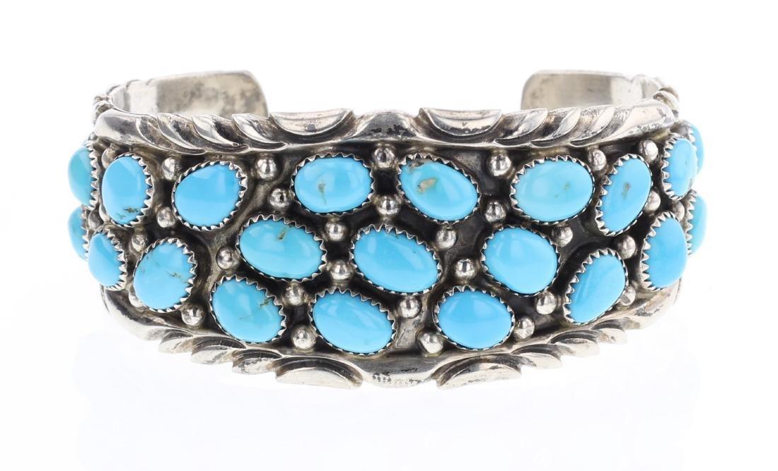 Vintage Turquoise Cluster Cuff Bracelet