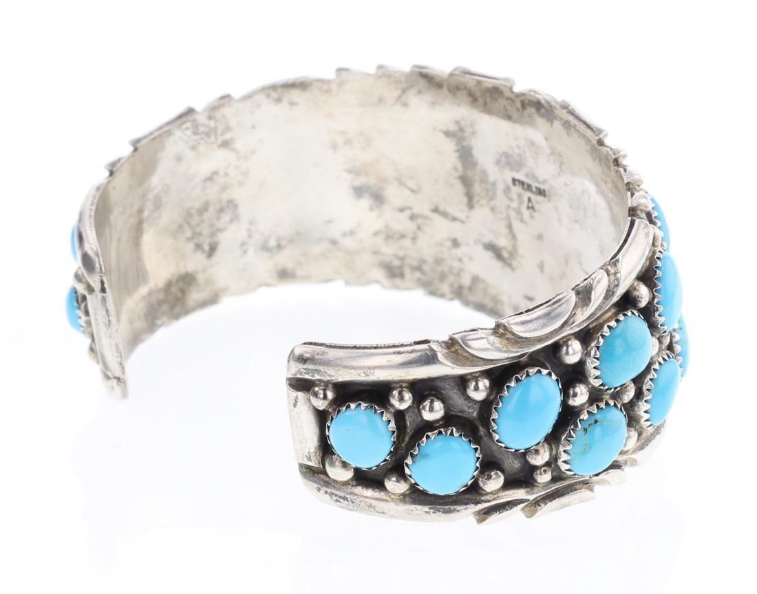 Vintage Turquoise Cluster Cuff Bracelet - 2